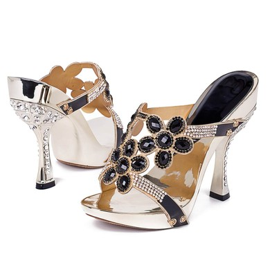 Women's Black Suede Sandals with Crystal Heel/Rhinestone #LDB03030391
