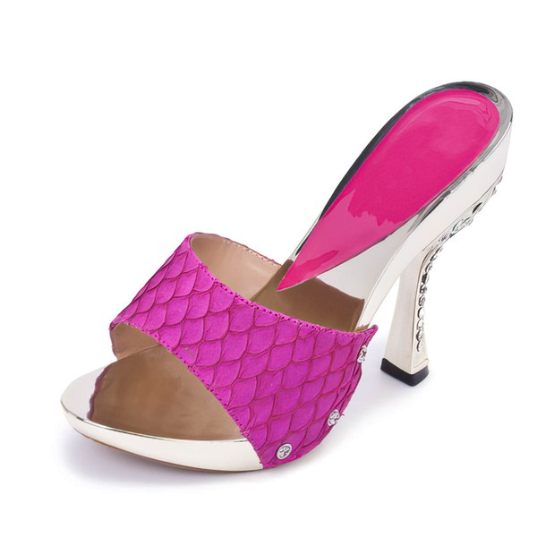 Women's Fuchsia Leatherette Pumps with Crystal Heel #LDB03030393