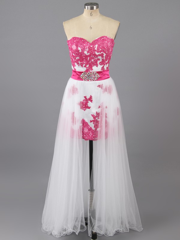 Elegant Satin Tulle with Appliques Lace Asymmetrical Sheath/Column Prom Dresses #LDB02042457