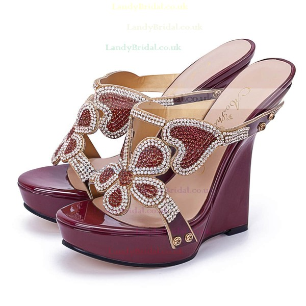 Women's Burgundy Patent Leather Sandals with Crystal