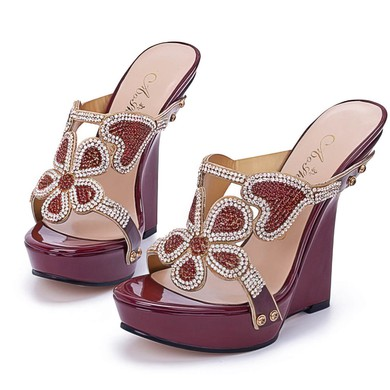 Women's Burgundy Patent Leather Sandals with Crystal #LDB03030394