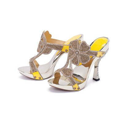 Women's Champagne Leatherette Pumps with Crystal/Crystal Heel #LDB03030395