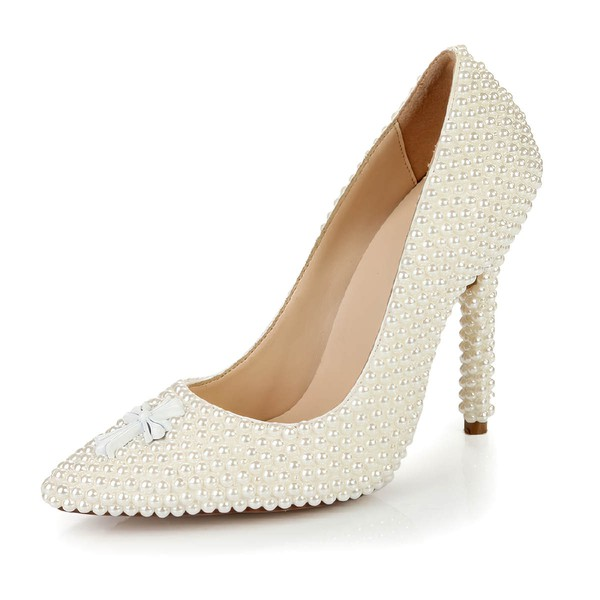 Women's Ivory Patent Leather Closed Toe with Imitation Pearl #LDB03030396