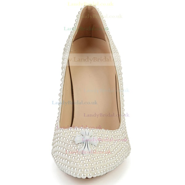 Women's Ivory Patent Leather Closed Toe with Imitation Pearl