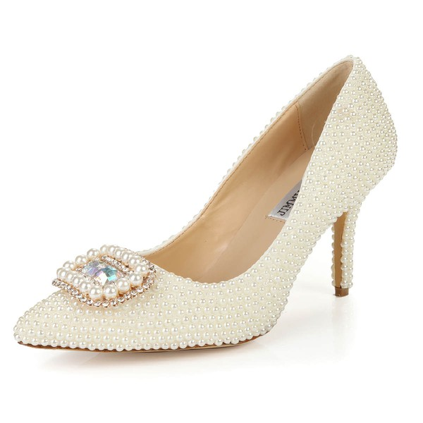 Women's Ivory Patent Leather Pumps with Rhinestone/Imitation Pearl #LDB03030397