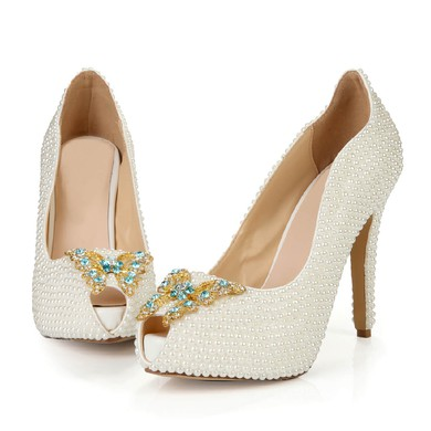 Women's Ivory Patent Leather Pumps with Rhinestone/Pearl #LDB03030398