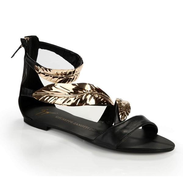 Women's Black Suede Sandals with Others