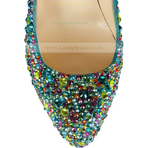 Women's  Real Leather Platform with Crystal/Crystal Heel