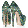 Women's  Real Leather Platform with Crystal/Crystal Heel #LDB03030400