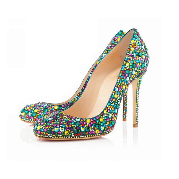 Women's  Real Leather Pumps with Crystal Heel/Crystal #LDB03030401