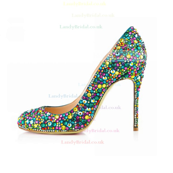Women's  Real Leather Pumps with Crystal Heel/Crystal