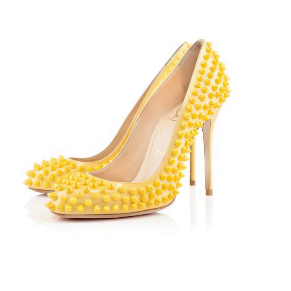 Women's Yellow Patent Leather Pumps with Rivet #LDB03030402