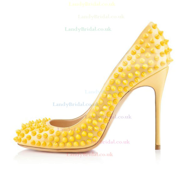 Women's Yellow Patent Leather Pumps with Rivet