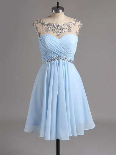 Scoop Neck Royal Blue Chiffon Crystal Detailing Short/Mini Sweet Prom Dress #LDB02042461