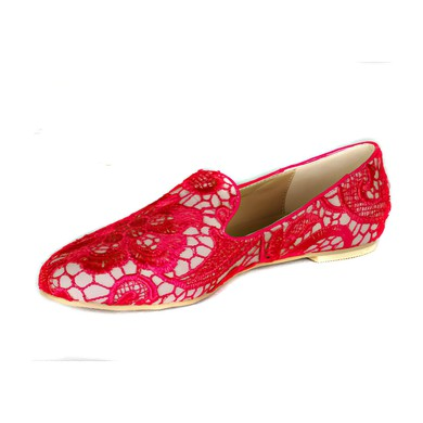Women's Red Lace Flats #LDB03030404