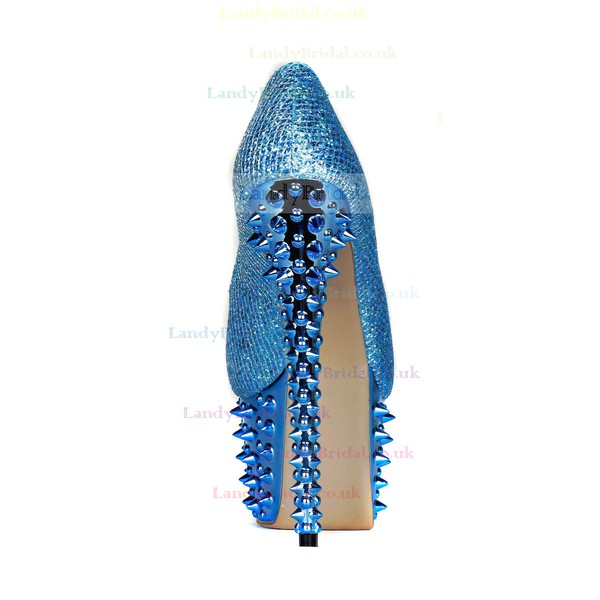 Women's Blue Sparkling Glitter Pumps with Sparkling Glitter/Rivet