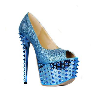 Women's Blue Sparkling Glitter Pumps with Sparkling Glitter/Rivet #LDB03030405