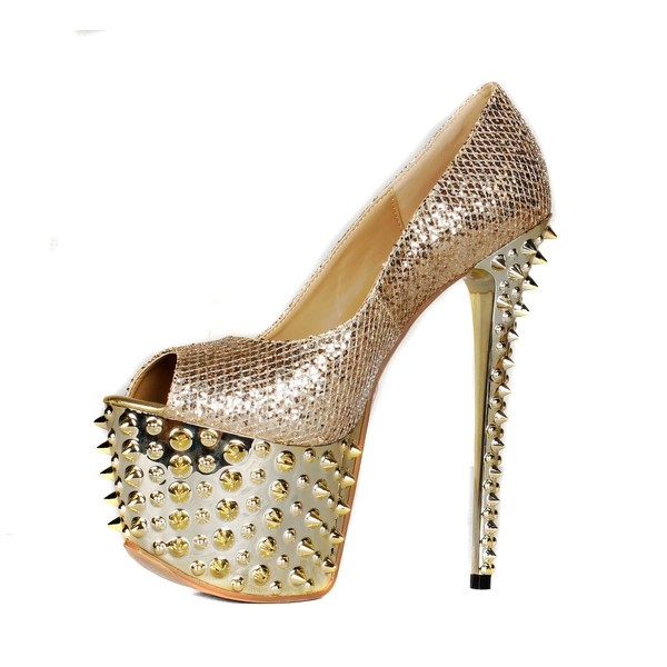 Women's Champagne Sparkling Glitter Pumps with Sparkling Glitter/Rivet #LDB03030406