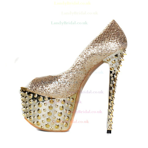 Women's Champagne Sparkling Glitter Pumps with Sparkling Glitter/Rivet