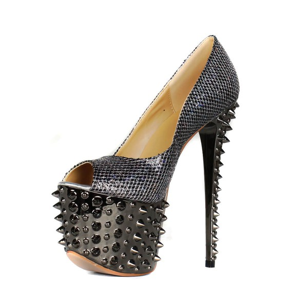 Women's Black Sparkling Glitter Pumps with Sparkling Glitter/Rivet #LDB03030407