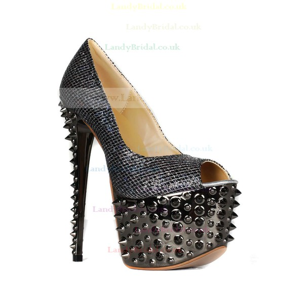 Women's Black Sparkling Glitter Pumps with Sparkling Glitter/Rivet
