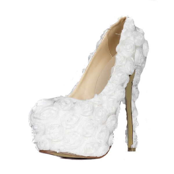 Women's White Lace Pumps with Flower #LDB03030408