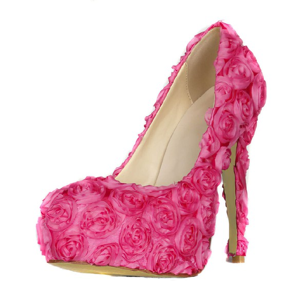 Women's Fuchsia Lace Pumps with Flower #LDB03030409