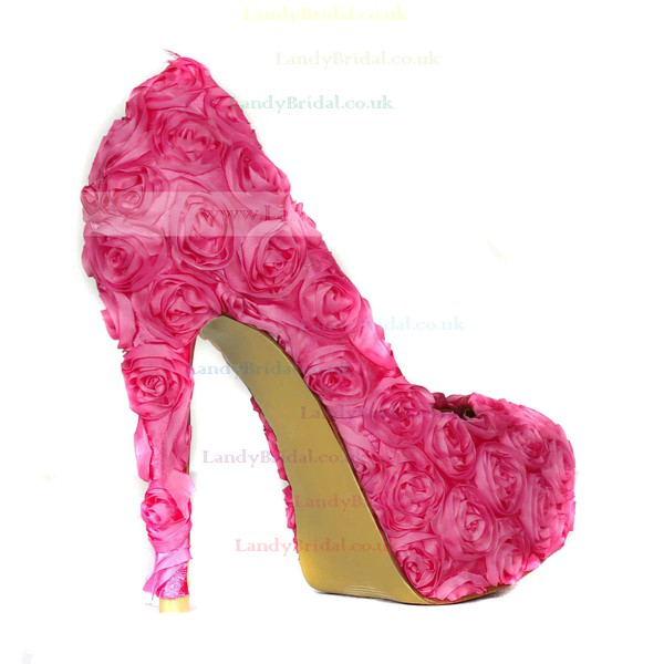 Women's Fuchsia Lace Pumps with Flower