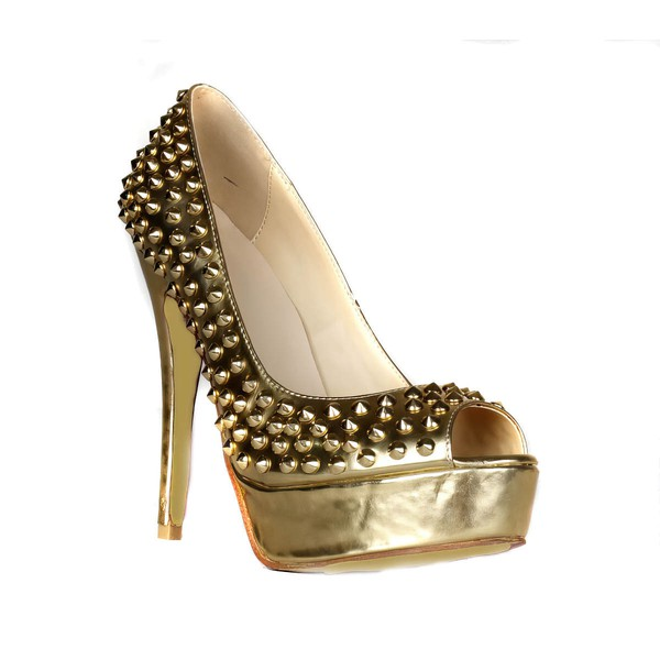 Women's Gold Patent Leather Pumps with Rivet #LDB03030411
