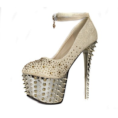 Women's  Sparkling Glitter Pumps with Crystal/Sparkling Glitter/Rivet #LDB03030412