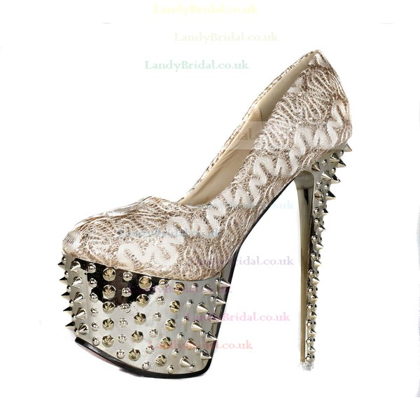 Women's Light Golden Sparkling Glitter Pumps with Rivet