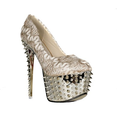 Women's Light Golden Sparkling Glitter Pumps with Rivet #LDB03030413