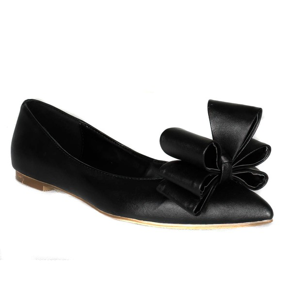 Women's Black Real Leather Flats with Bowknot #LDB03030414