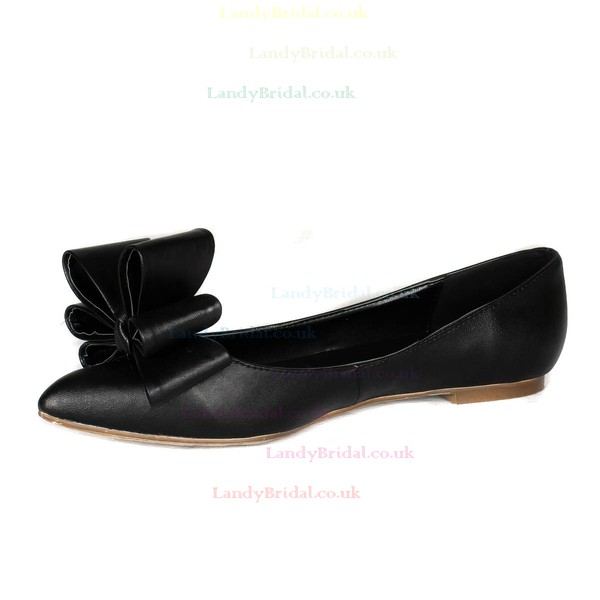Women's Black Real Leather Flats with Bowknot