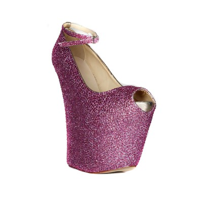 Women's Fuchsia Real Leather Peep Toe with Buckle #LDB03030415