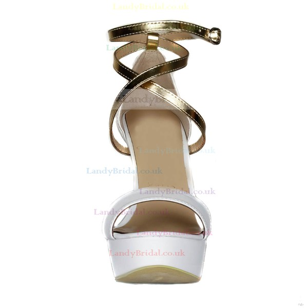Women's White Real Leather Sandals with Ankle Strap/Buckle