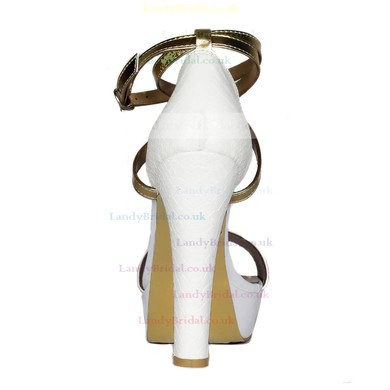 Women's White Real Leather Sandals with Ankle Strap/Buckle #LDB03030416