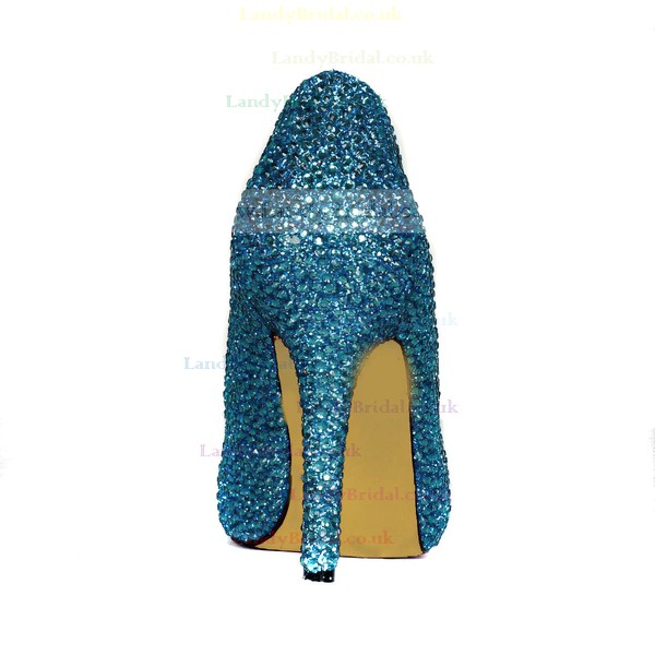 Women's Blue Real Leather Platform with Crystal
