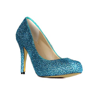 Women's Blue Real Leather Platform with Crystal #LDB03030417