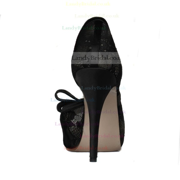 Women's Black Lace Peep Toe with Bowknot