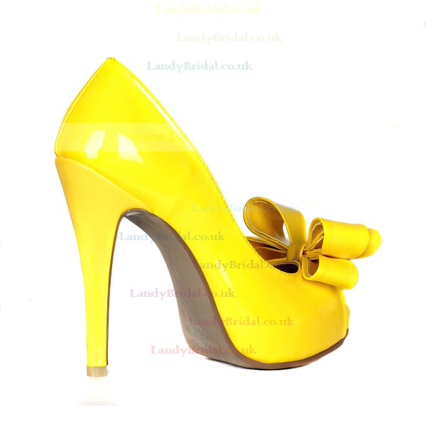 Women's Yellow Patent Leather Pumps with Bowknot
