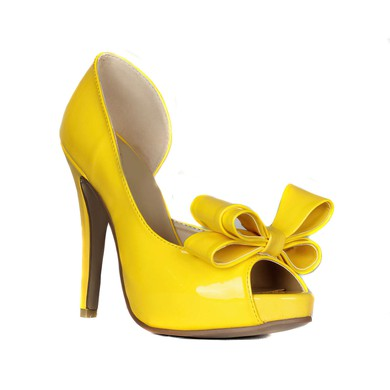 Women's Yellow Patent Leather Pumps with Bowknot #LDB03030420