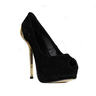 Women's Black Suede Pumps #LDB03030422