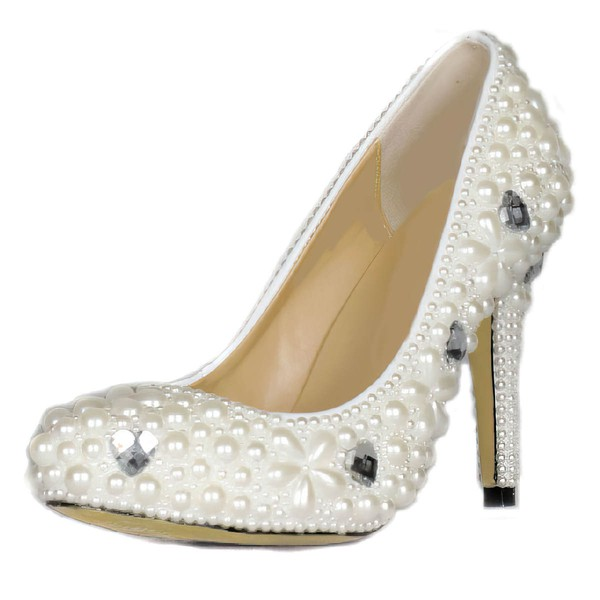 Women's Ivory Patent Leather Pumps with Rhinestone/Crystal Heel/Pearl