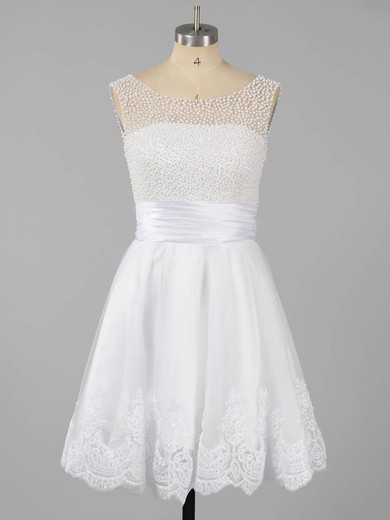 Tulle Scoop Neck Short/Mini with Pearl Detailing Girls White Prom Dresses #LDB02051621