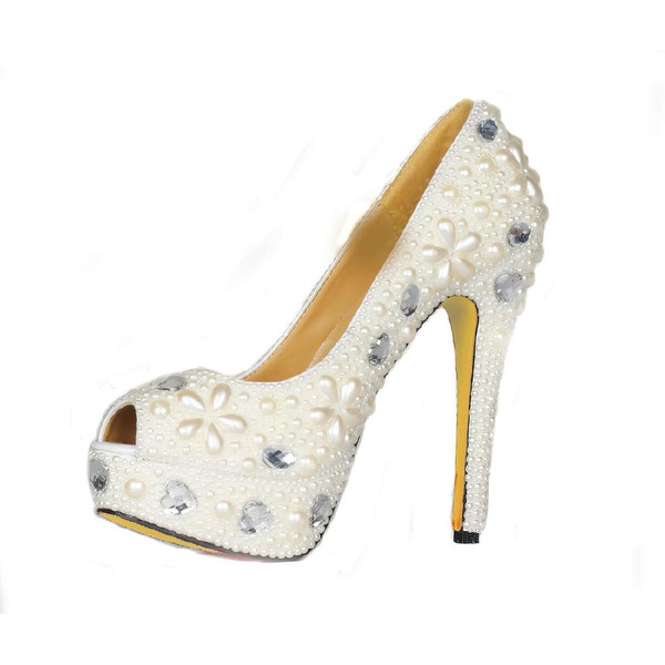 Women's Ivory Patent Leather Pumps with Crystal Heel/Pearl #LDB03030424