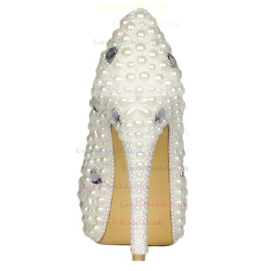 Women's Ivory Patent Leather Pumps with Rhinestone/Pearl #LDB03030425