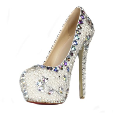 Women's Ivory Patent Leather Pumps with Crystal/Crystal Heel/Pearl #LDB03030426