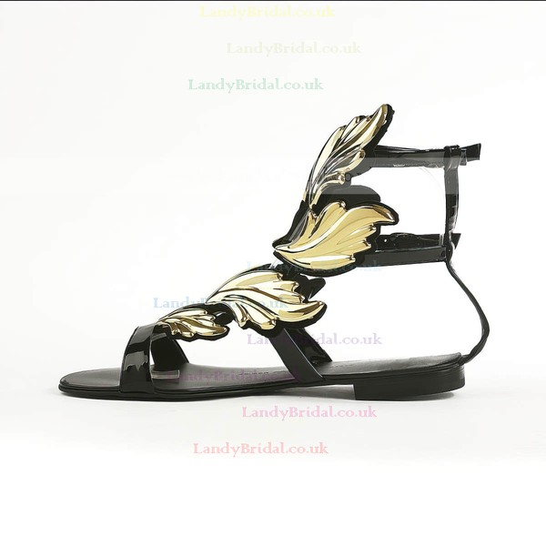 Women's Black Suede Sandals with Buckle