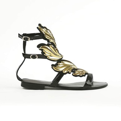 Women's Black Suede Sandals with Buckle #LDB03030430
